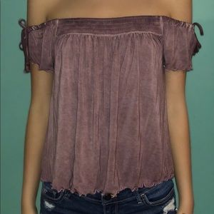 Purple off the shoulder shirt